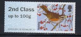 GB 2015 QE2 2nd Class Up To 100 Gm Post & Go Redwing Bird No Gum ( B406 ) - Great Britain