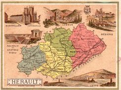 Carte Cartonnée Département De L'Hérault / 11.5 X 8.7 Cm / Librairie Hachette / Infos Au Verso / 2 Scan - Mapas Geográficas
