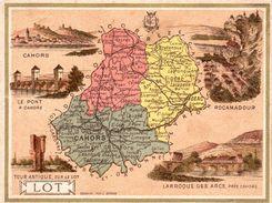 Carte Cartonnée Département Du Lot / 11.5 X 8.7 Cm / Librairie Hachette / Infos Au Verso / 2 Scan - Mapas Geográficas