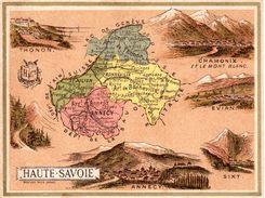 Carte Cartonnée Département De La Haute Savoie / 11.5 X 8.7 Cm / Librairie Hachette / Infos Au Verso / 2 Scan - Geographical Maps