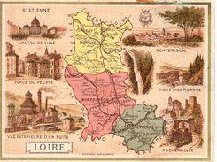 Carte Cartonnée Département De La Loire / 11.5 X 8.7 Cm / Librairie Hachette / Infos Au Verso / 2 Scan - Geographical Maps