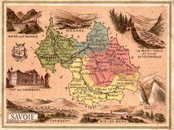 Carte Cartonnée Département De La Savoie / 11.5 X 8.7 Cm / Librairie Hachette / Infos Au Verso / 2 Scan - Mapas Geográficas