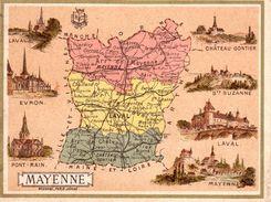Carte Cartonnée Département De La Mayenne / 11.5 X 8.7 Cm / Librairie Hachette / Infos Au Verso / 2 Scan - Mapas Geográficas