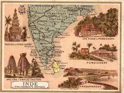 Etablissements Français Dans L'Inde / 11.5 X 8.7 Cm / Librairie Hachette / Infos Au Verso / 2 Scan - Mapas Geográficas