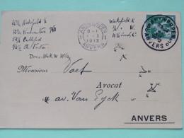 Belgium 1913 Postcard Antwerpen To Anvers - Lion - 1912 Pellens