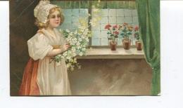 CPA Gaufrée -  Enfant Avec Bouquet Et Pots De Fleurs Sur La Fenêtre - Circulée - Children