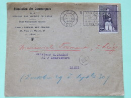 Belgium 1930 Cover Liege To Liege - King Leopold I - Other