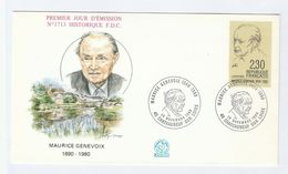 1990 Chateuneuf Sur Loire  FRANCE FDC GENEVOIX  Stamps Cover Literature - FDC