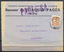 1934 , GUIPÚZCOA , SOBRE COMERCIAL CIRCULADO ENTRE IRÚN Y ESTRASBURGO , SUCESOR DE JOAQUÍN PAGÉS - 1931-Aujourd'hui: II. République - ....Juan Carlos I