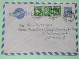 Finland 1954 Cover Pyhtaa To London - Lion Arms - Finland