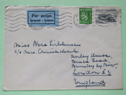 Finland 1954 Cover Helsinki To England - Lion Arms - Post Bus - Finland