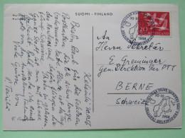 "Finland 1956 FDC On Postcard """"Helsinki"""" To Switzerland - Geese - Map Cancel - Finland"