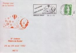Aérostation, 1 Jour De La Flamme Annonce Du 10° Challenge Pilâtre De Rozier, Courcelles Chaussy 30-5-92 - Francia