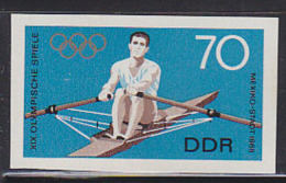 EAST GERMANY (1968) Sculler*.  Imperforate Phase Proof In Final Colors.  Scott No 1046, Yvert No 1105.  Michel Catalog 9 - Sommer 1968: Mexico