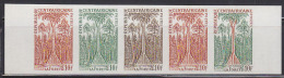 CENTRAL AFRICA (1975) Forest*.  Trial Color Proofs In Strip Of 5 With Multicolor.  Scott No 240, Yvert No 248. - Arbres