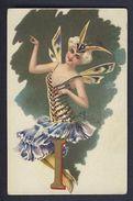 LETTER - I - Butterfly Papillon Woman Postcard - Women