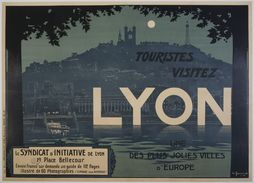 Touristes Visitez Lyon 1920s - Postcard - Poster Reproduction - Publicité