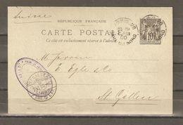 LOT  1725    // CARTE SAGE    10c        PARIS    GARE DU NORD  POUR  SUISSE - Marcophilie (Lettres)