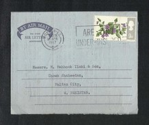 Great Britain England 1967 Air Mail Postal Used Air Letter Aerogramme Cover London To Pakistan Flower Flowers - Stamped Stationery, Airletters & Aerogrammes
