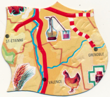 Ancien Chromo YOPLAIT : Le Puzzle Carte De France, Saint-Etienne, Valence, Grenoble, Poule, Alambic... (2 Scans) - Kaufmanns- Und Zigarettenbilder
