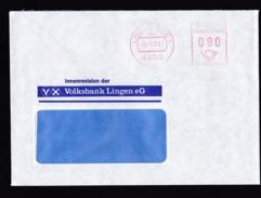 Germany: Cover, 1987, Meter Cancel, Volksbank Lingen, Bank, Finance (traces Of Use) - Brieven En Documenten