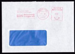 Germany: Cover, 1987, Meter Cancel, Volksbank Lingen, Bank, Finance (traces Of Use) - [7] West-Duitsland