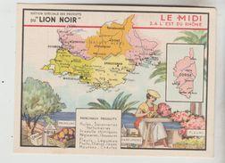 CARTON FORMAT CPSM CARTE GEOGRAPHIQUE PUBLICITAIRE - FRANCE Midi L'Est Du Rhone édition LION NOIR Fleurs Parfums Primeur - Maps