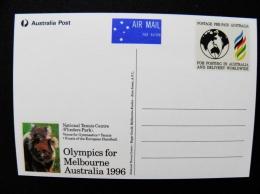 Post Card From Australia 1996 Olympics Gfor Melbourne Ani Mals Koala Postal Stationery Tennis Centre - Entiers Postaux