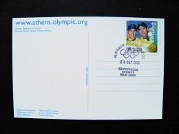 Post Card From Australia 2000 Olympic Games Sydney Special Cancels Gold Medalists Olymphilex Cycling Athens 2004 Greece - 2000-09 Elizabeth II