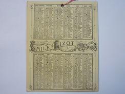 Petit Calendrier  PUB  Emile  LIZOT  à ST-MANDE   1880   XXXXX - Calendriers