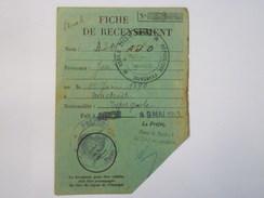 AUCH  1945  :  Fiche De  RECENSEMENT  De José  AJO De Nationalité Espagnole   XXX - Vieux Papiers