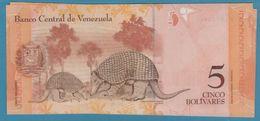 VENEZUELA 5 Bolivares 24.05.2007 Serie F157 P# 89b Giant Armadillos  UNC - Venezuela