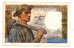 10 F Mineur 1947 - 1871-1952 Circulated During XXth