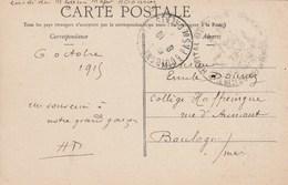 Cachet Hôpital Militaire ST OMER Pas De Calais 6/10/1915 Sur Carte Postale Petit Poste Avancé Dans Le Pas De Calais - Guerre De 1914-18