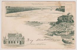 South Africa Pretoria - Litho Brug Over De Vaalrivier / Gebouw Ned Bank / De Vaal Rivier - 1901 - Zuid-Afrika