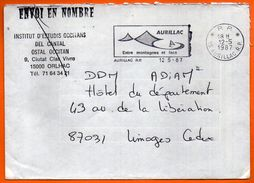 15 AURILLAC   ENTRE MONTAGNES ET LACS  1987  Lettre Entière N° FF 85 - Postmark Collection (Covers)