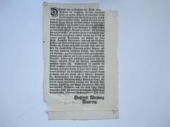 Hochfürstl. Wirzburg Regierung 1756 Dekret / Decretum. Schaden An Feld- Früchten / Schwere Unwetter / Beamten. - Gesetze & Erlasse