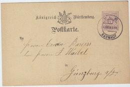 WURTTEMBERG COVER POSTAL CARD 1880 - Wurttemberg
