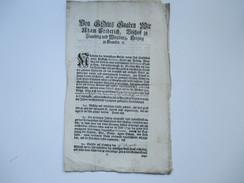 Hochfürstl. Wirzburg 1759 Dekret / Decretum. Von Gottes Gnaden Adam Friedrich Bischoff Zu Bamberg Und Wirzburg. RRR - Gesetze & Erlasse