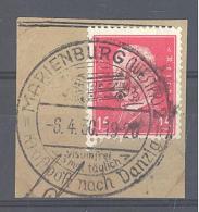 Reich  Michel #  415  Auf Briefstück   Mit  SST  Marienburg (Westpr.) Visumfrei 3 Mal Täglich Kraftpost Nach Danzig - Duitsland