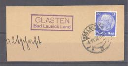 Reich  Michel #  471  Auf Briefstück   Mit Purpur Langstempel  GLASTEN  Bad Lausick Land - Allemagne
