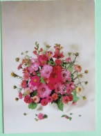 """Poland 1999 Postcard """"""""flowers"""""""" To England - Zodiac Taurus - Country Estates Romanowie - Poland"""