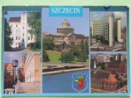 """Poland 1999 Postcard """"""""Szczecin Arms Eagle Buildings Church Town Hall Bus"""""""" To England - Zodiac Cancer - Country Estates - Poland"""
