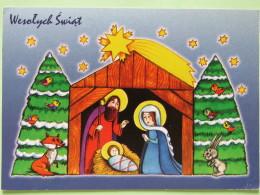 """Poland 1999 Postcard """"""""drawing - Christmas Nativity Fox Birds Rabbit"""""""" Warszawa To England - Zodiac Leo - Poland"""