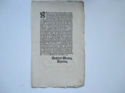 Erlass / Dekret / Verordnung 1781 Wirzburg Hochfürtstl. Regierung. Feuer Versicherung. Feuersbrünste. Schießverbot - Decrees & Laws
