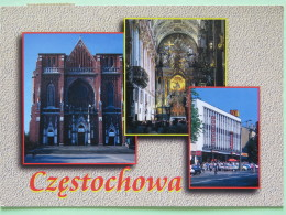 """Poland 1999 Postcard """"""""Czestochowa Cathedral Mac Donald"""""""" To England - Zodiac Virgo - Country Estates Lopusznej And Czar - Poland"""
