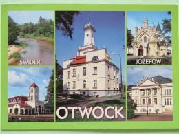 "Poland 1999 Postcard """"Otwock Jozefow River Church Town Hall"""" To England - Pinecones Pinus - Poland"