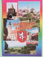 "Poland 1999 Postcard """"Bystrzyca Klodzka Arms Lion Church Castle"""" To England - Country Estates Gluchach - Poland"
