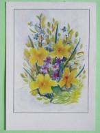 """Poland 1999 Postcard """"""""flowers"""""""" Warszawa To England - Country Estates Gluchach - Poland"""