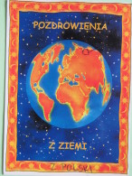 "Poland 1999 Postcard """"Earth Globe With Hand Marked Map Of Poland"""" Kowalew Pleszewa To England - Country Estates Oblego - Poland"